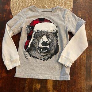 5/$20 Carter's buffalo plaid bear long sleeve Tee